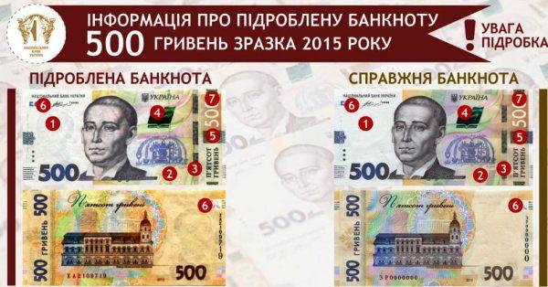 поддельные банкноты 500 гривен