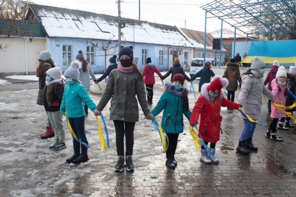 В Арцизе День Cоборности Украины отметили флешмобом