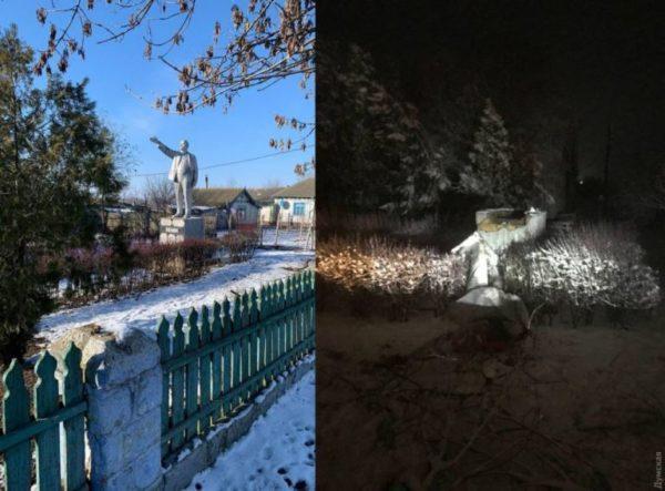 В Одесской области свалили последний памятник Ленину и отбили нос бюсту Маркса