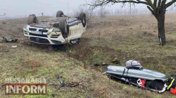 На трассе Одесса-Рени из-за беспечности водителя перевернулся Mercedes c детьми в салоне