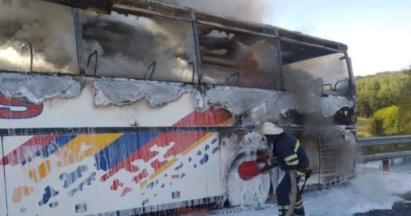 На трассе Одесса – Киев сгорел автобус(видео)
