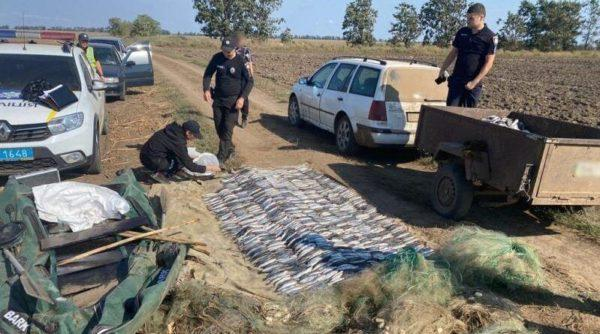 """В """"Тузловских лиманах"""" полиция задержала двух браконьеров с 240 кг кефали"""